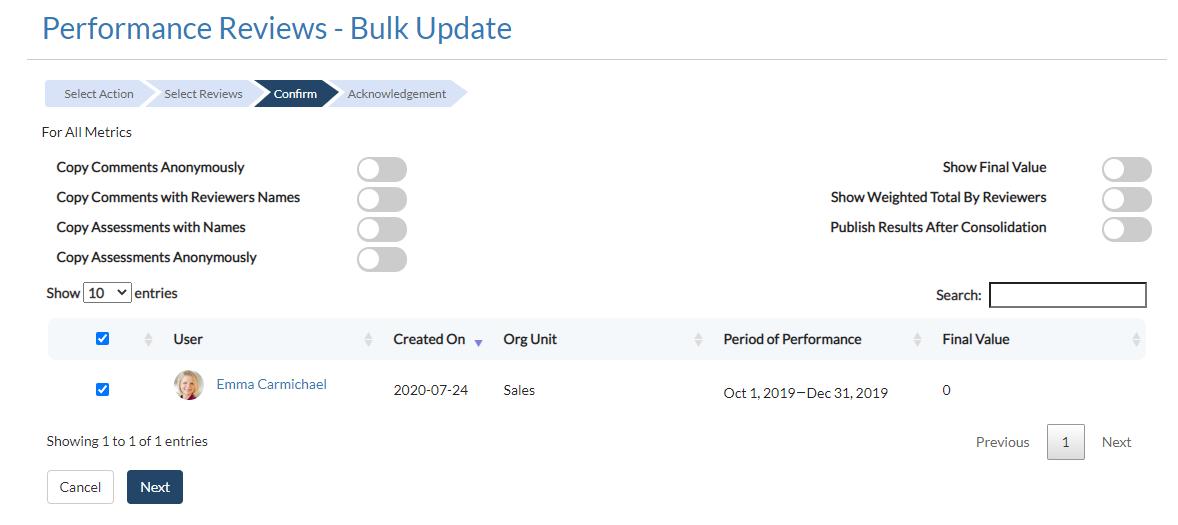 Bulk Update Confirmation