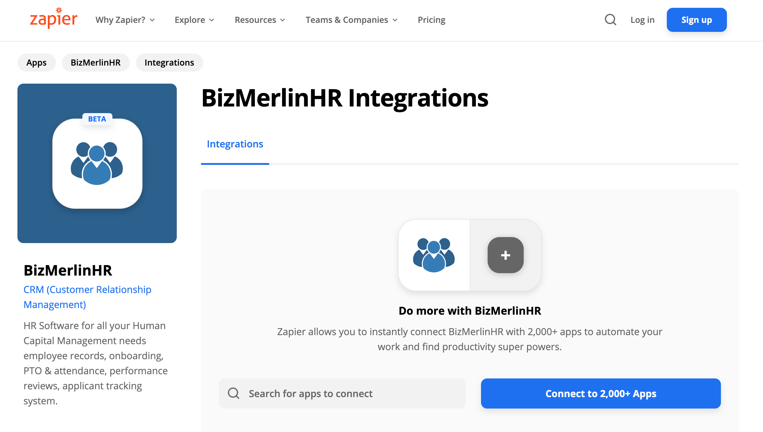Zapier-BizMerlinHR Integrations