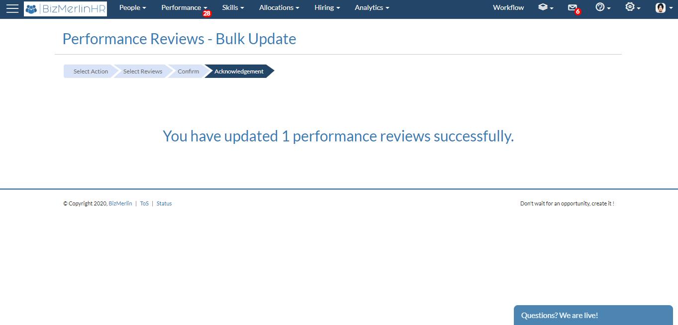 Bulk update acknowledgement